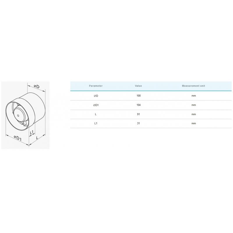 VK 100 (107m³/h) Mini Extracteur / Intracteur
