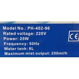 Humidificateur Ultrasonic 6 Lt 250 ml/H