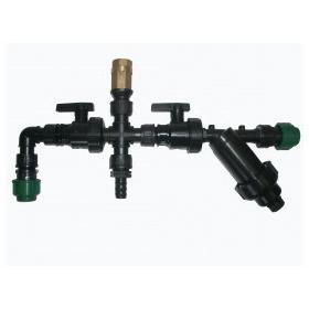 Kit sortie pompe avec filtre, valve, robinet, connecteurs et circulation d'eau (monté)